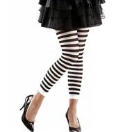 Halloweenaccessoires leggings zwart/wit gestreept