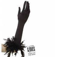 Halloweenaccessoires handschoenen met veren zwart