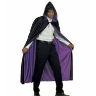 Halloweenaccessoires luxe zwart/paarse 2-zijdige cape