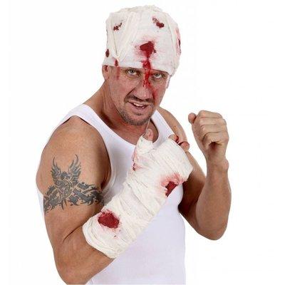 Bloederig nep verband om de arm als Halloween verwonding