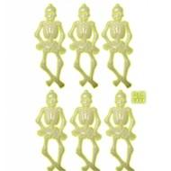 Halloweenaccessoires: 6 Lichtgevende skeletten 15 cm