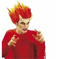 Halloweenaccessoires duivel hoorn groot incl. lijm