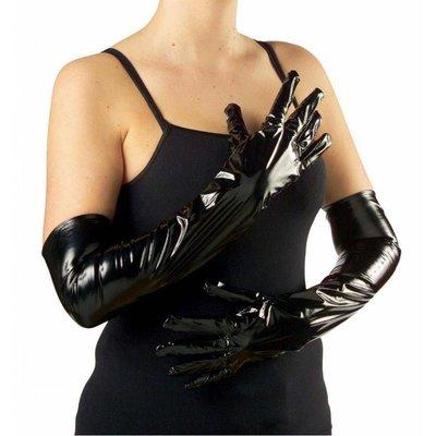 Halloweenaccessoires handschoenen vinyl zwart 56cm