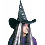 Halloweenaccessoires: Hoed, spinnenweb met spinnen