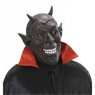 Halloweenaccessoires masker zwarte lachende duivel