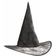 Halloweenaccessoires heksenhoed spinneweb glitter