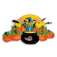Halloweenaccessoires 3d decoratie heks 91x51 cm