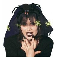 Halloweenaccessoires: Hoofddoekje heks met spin