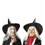 Halloweenaccessoires: Heksenmasker met hoed en haar