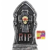 Halloweenaccessoires grafsteen schedel met licht