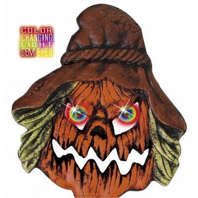 Halloweenaccessoires hoofd vogelverschrikker met meerkleurig licht