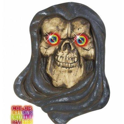 Halloweenaccessoires hoofd grim reaper met meerkleurig licht