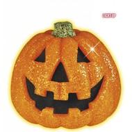 Halloweenaccessoires: Glitter pompoen 20 cm met flikkerend licht