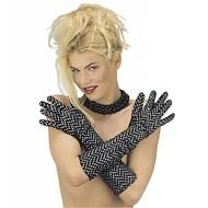 Halloweenaccessoires lange handschoenen fluweel met decoraties