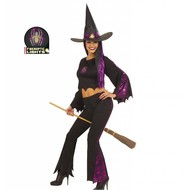Halloweenkleding heks fiberoptisch