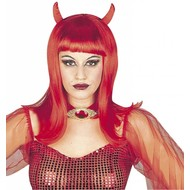 Halloweenaccessoires: Pruik Duivelin