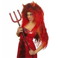 Halloweenaccessoires: Extra lange duivelspruik