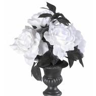 Halloweenaccessoires vaas met 6 witte rozen met verlichting
