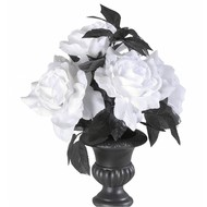 Bloemstuk met 6 witte rozen met kleurverlichting