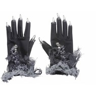 Halloweenaccessoires: Heksenhandschoen met zilveren nagels