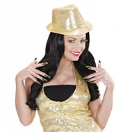 Halloweenaccessoires set oogwimpers goud met 10 glitternagels