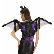 Halloweenaccessoires vleugels vleermuis met marabou