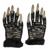 Halloweenaccessoires: Katachtige heksen handschoenen