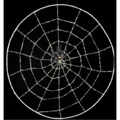 Spinnenweb met nep spin voor Halloween