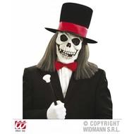 Halloweenaccessoires schedelmasker met hoed en haar