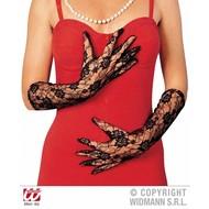 Halloweenaccessoires kanten handschoenen zwart lang