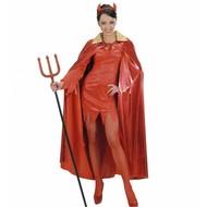 Halloweenaccessoires metalic rode cape met gouden kraag