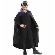 Halloweenaccessoires kindercape zwart met paarse kraag