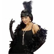 Halloweenaccessoires handschoenen zwarte katoen 60cm