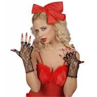 Halloweenaccessoires zwarte vingerloze handschoenen 25cm