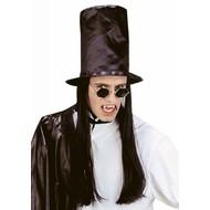 Halloweenaccessoires hoge hoed dracula met haar