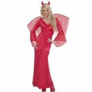 Halloweenkleding duivelin fluweel met kant