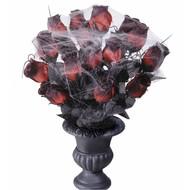 Halloweenaccessoires vaas met 15 rode rozen en spinneweb