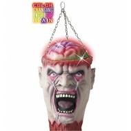 Horroraccessoires: Hangdeco Schedel met lichtgevende hersenen 27 cm