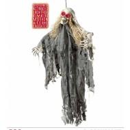 Horroraccessoires: Hangdeco Skelet met oplichtende ogen 90 cm