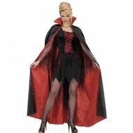 Halloweenaccessoires satijnen cape zwart/rood 158 cm