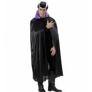 Halloweenaccessoires zwarte cape met paarse kraag