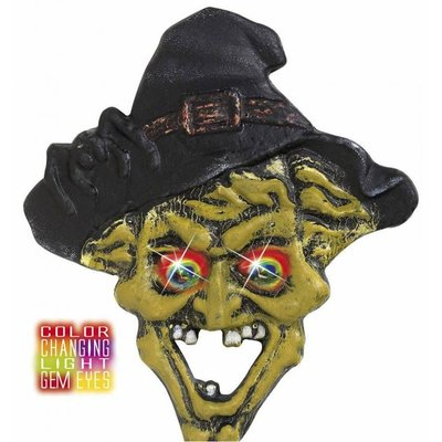 Halloweenaccessoires hoofd heks met meerkleurig licht