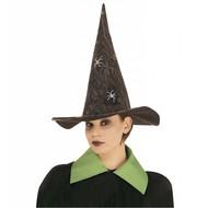 Halloweenaccessoires luxe heksenhoed met spinneweb en spinnen