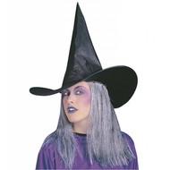Halloweenaccessoires: Hoed met grijs haar