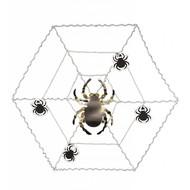 Halloweenaccessoires wanddecoratie spinnenweb met spinnen