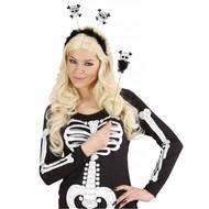 Halloweenartikel hoofdband en staf met schedel en botten