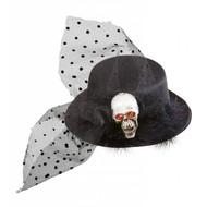 Halloweenartikel mini hoge hoed schedel