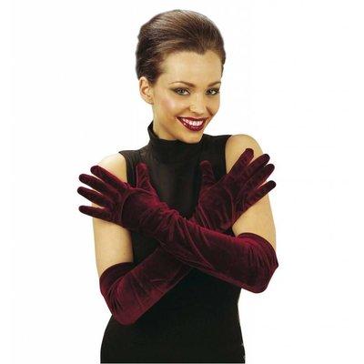 Halloweenaccessoires fluwelen handschoenen 56cm
