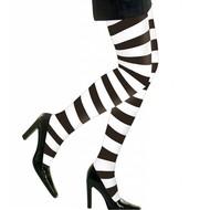 Halloweenaccessoires panty zwart/wit gestreept