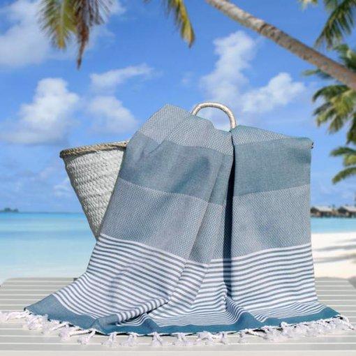 Fashion4Wellness Hamamdoek Deniz Size 5 - 100x230 petrol blue